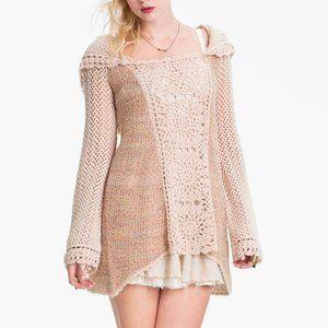 Free People Crochet Pullover Hoodie